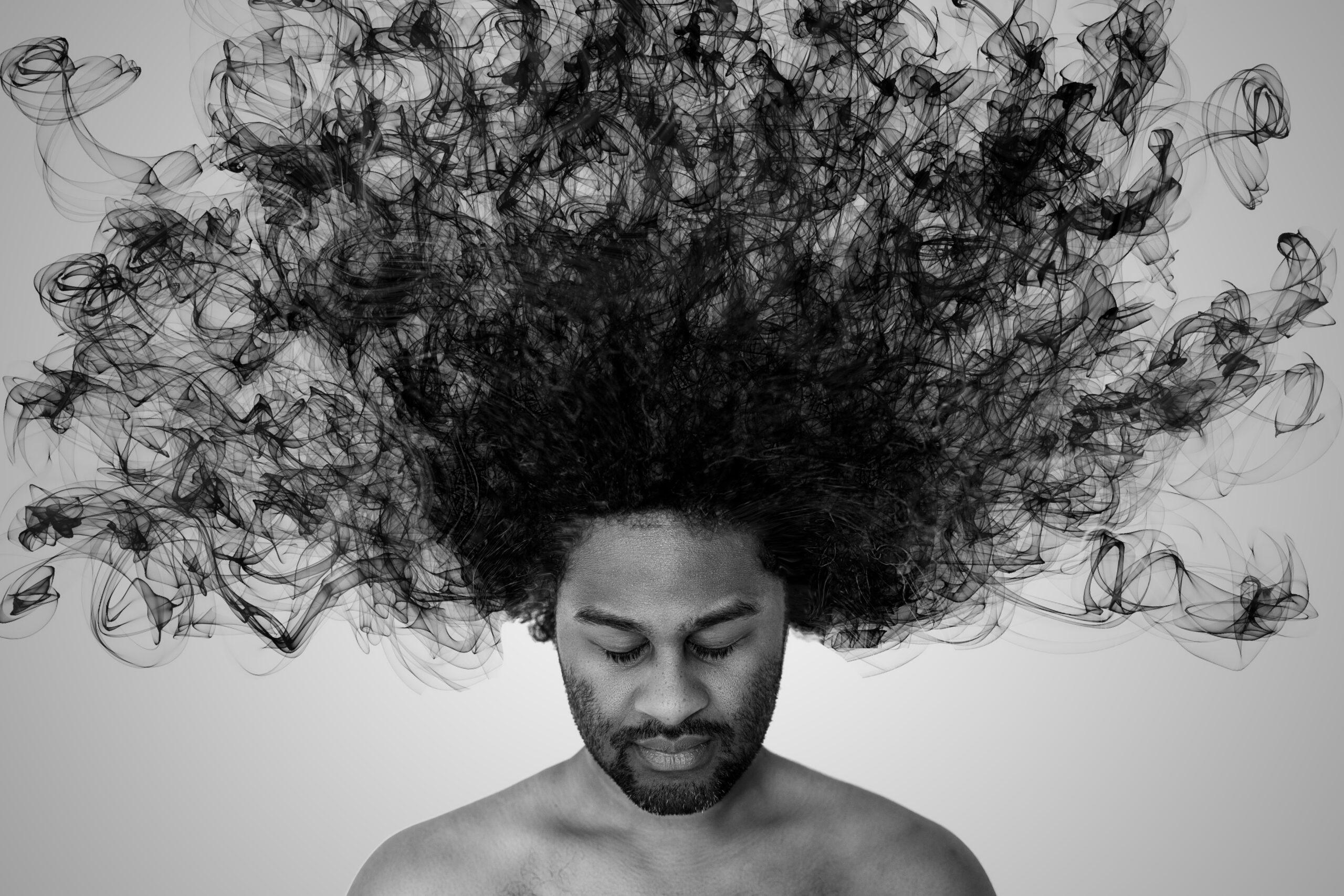 Distorted man portrait